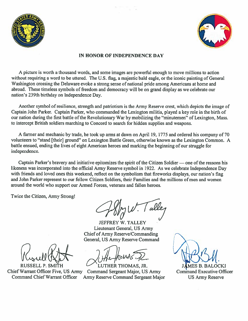 Independence Day 2015 Us Army Reserve Article View