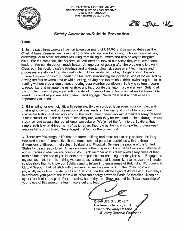 cg safety awareness and suicide prevention letter > u.s. army