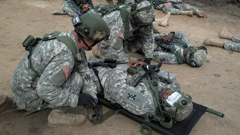 Soldiers doing a medical exercise