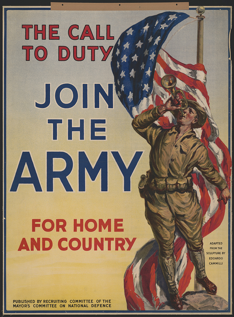Call to Duty - Join the US Army WWI poster