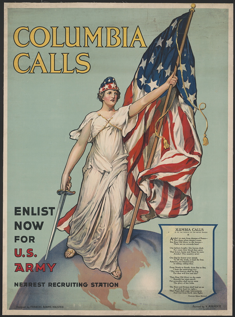 Columbia Calls - Enlist Now for US Army WWI poster